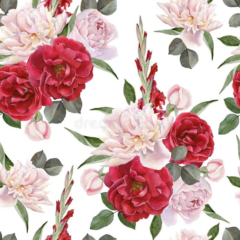 Den blom- sömlösa modellen med pioner för rosor för vattenfärgen vita och gladiolus blommar vektor illustrationer