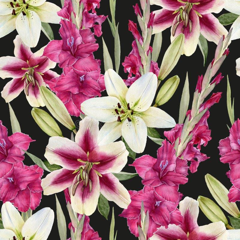Den blom- sömlösa modellen med vita liljor för vattenfärgen och rosa gladiolus blommar vektor illustrationer
