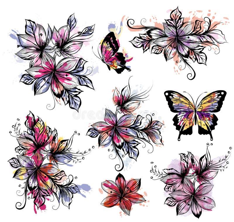 Den blom- samlingen av vektorn blommar med färgrik spo för vattenfärg stock illustrationer