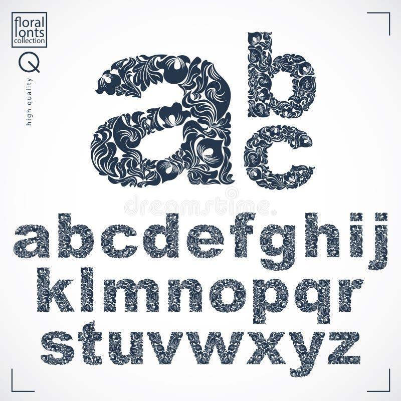 Den blom- stilsorten, detdrog lilla alfabetet för vektorn märker anständigheter vektor illustrationer
