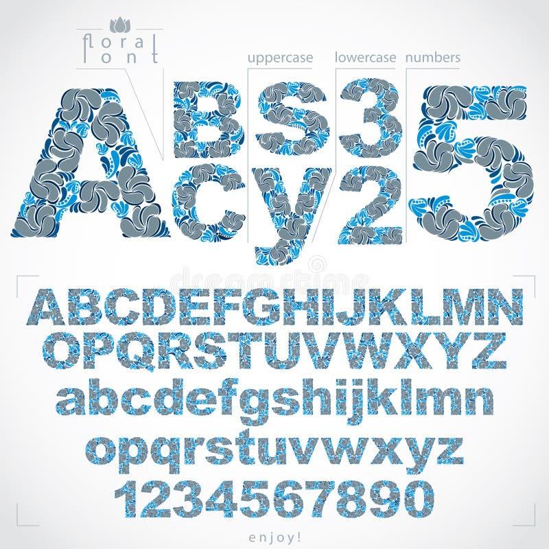 Den blom- stilsorten och nummer, detdrog vektoralfabetet märker deco royaltyfri illustrationer