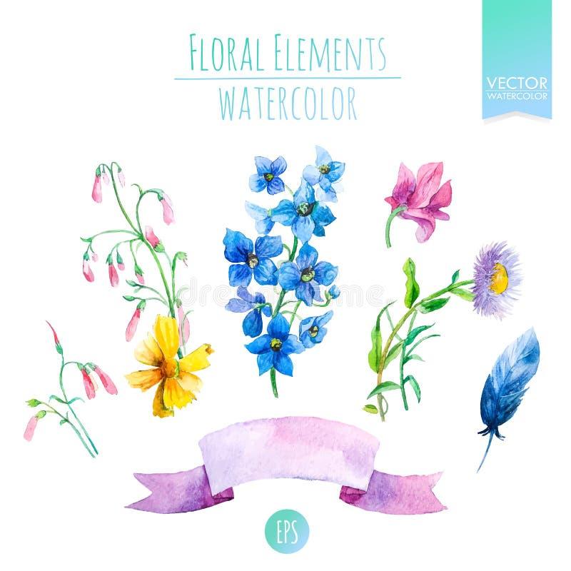 Den blom- uppsättningen med vattenfärgen blommar för sommar- eller vårkort, inbjudningar, reklamblad, baner eller affischdesign v stock illustrationer