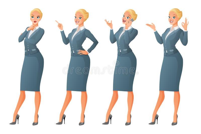 Den blonda affärskvinnan i olikt poserar vektor för set för tecknad filmhjärtor polar royaltyfri illustrationer