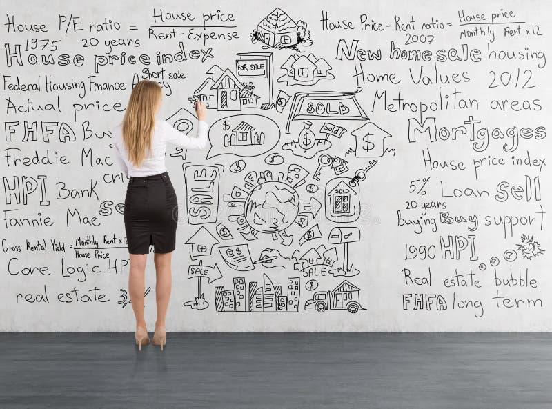 Den blonda affärskvinnan som drar en hemförsäljning, skissar fotografering för bildbyråer