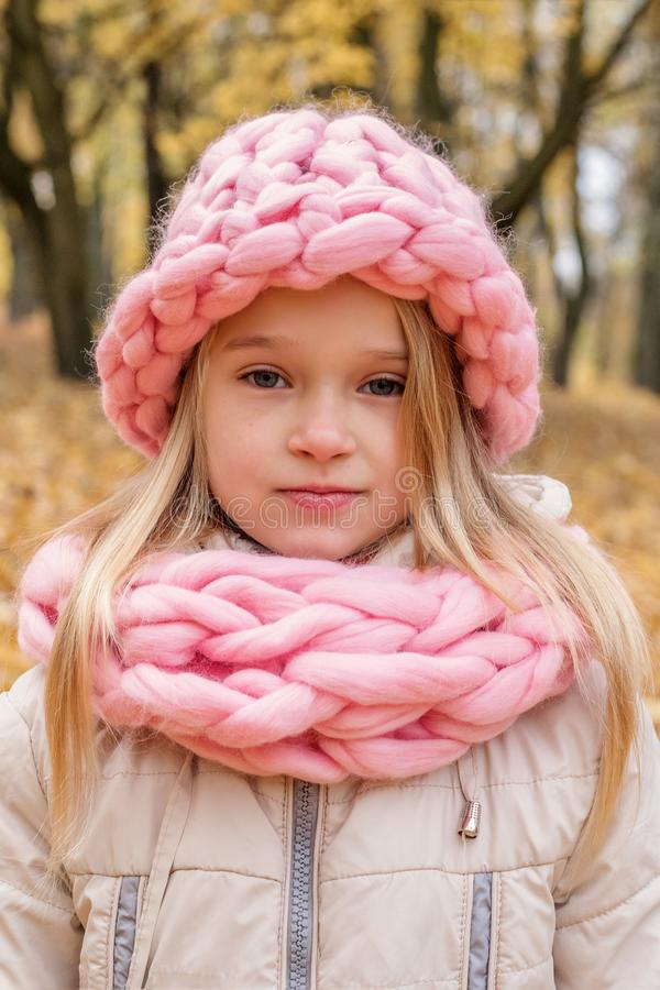 Den blonda flickan i en rosa hatt och halsduken av busen som parar ihop jul, övervintrar royaltyfri bild