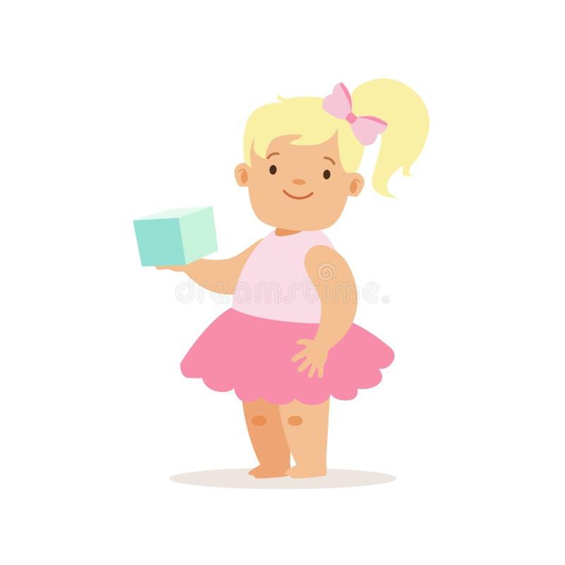 Den blonda flickan med boken i rosa färgkjol, förtjusande le behandla som ett barn tecknad filmteckenet varje dagläge royaltyfri illustrationer