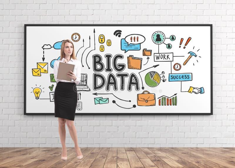 Den blonda kvinnan med anteckningsboken, stora data skissar arkivfoton