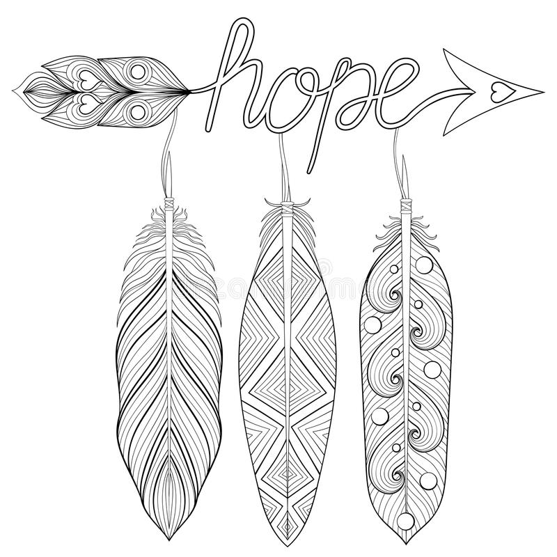Den bohemiska pilen, den hand drog amuletten med bokstäver hoppas, med feathe vektor illustrationer