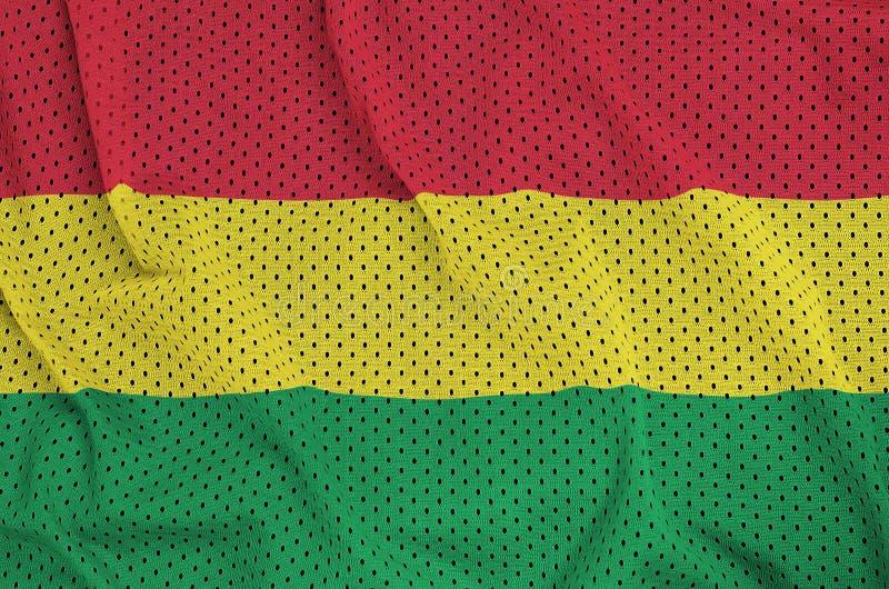 Den Bolivia flaggan skrivev ut på ett tyg för ingrepp för polyesternylonsportswear arkivbilder