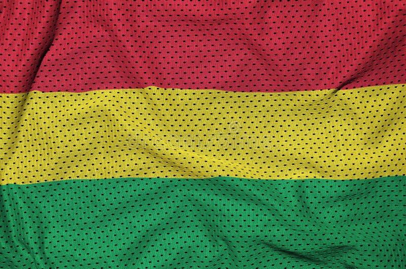 Den Bolivia flaggan skrivev ut på ett tyg för ingrepp för polyesternylonsportswear royaltyfri bild