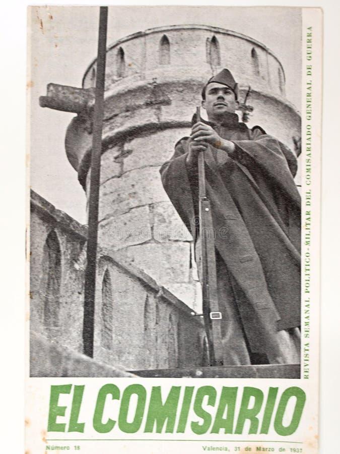 den borgerliga spanjoren kriger Nummer för ` för comisario för tidskrift`-El 18 år 1937 fotografering för bildbyråer