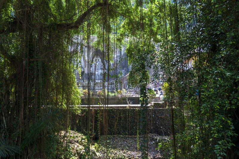 Den borttappade templet i djungeln arkivfoto