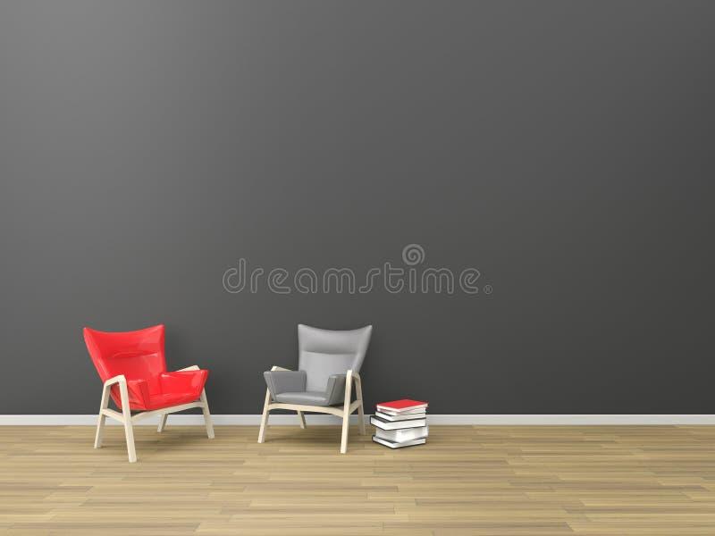 Den bosatt modern Röd-svart kopplar av minsta stil och samtidan/område vektor illustrationer