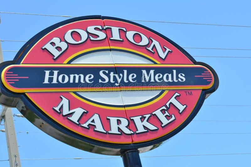 Den Boston marknaden undertecknar upp tätt arkivfoton