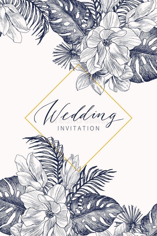 Den botaniska designen för mallen för bröllopinbjudankortet, den drog handen gömma i handflatan och monsterasidor med magnolian p stock illustrationer