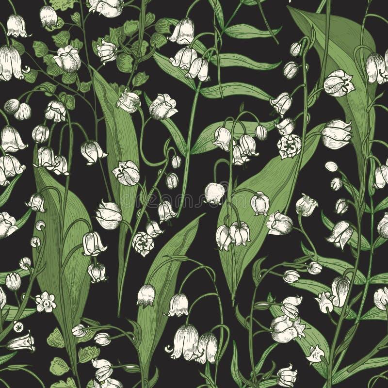 Den botaniska sömlösa modellen med den härliga blommande liljekonvaljen blommar på svart bakgrund Naturlig bakgrund med vektor illustrationer