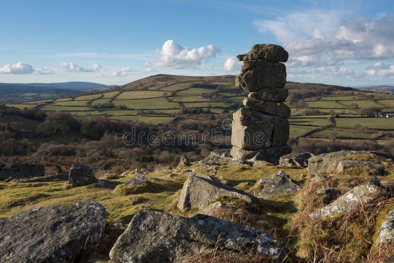 Bowermans näsa Dartmoor royaltyfri foto