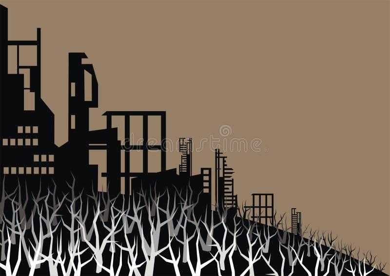Den brända staden royaltyfri illustrationer