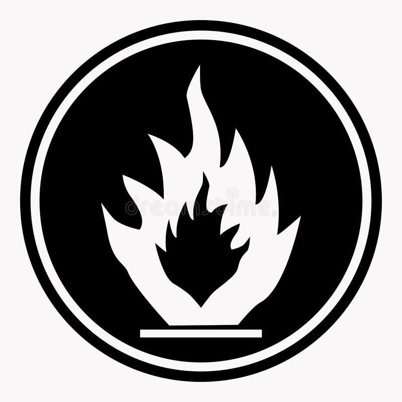 Den brännbara vektorn för varningsteckenbrand isolerade faravarningssymbolen stock illustrationer
