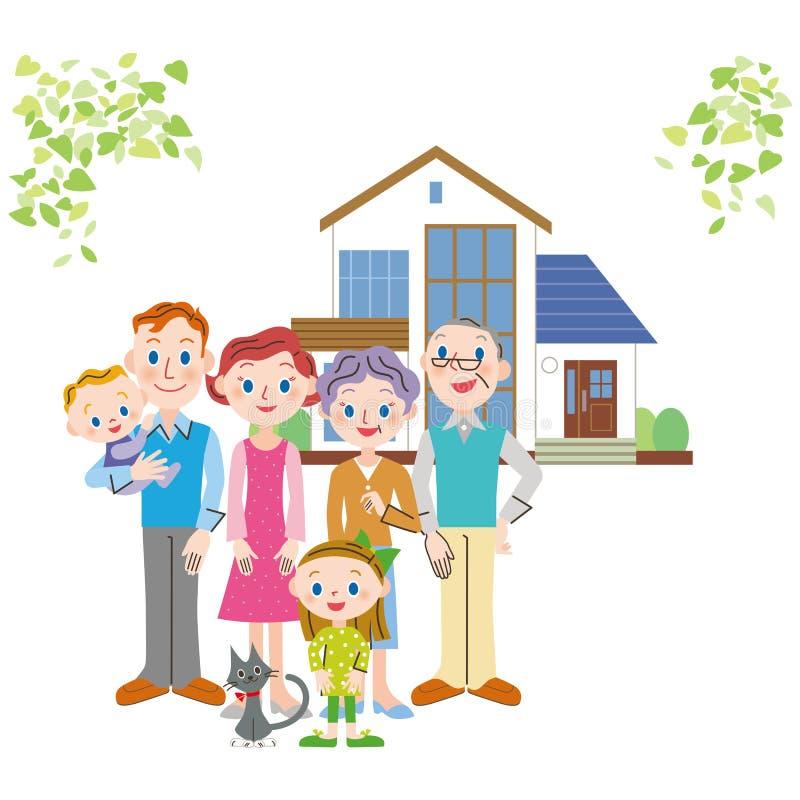 Den bra vänfamiljen som står framme av ett hus royaltyfri illustrationer
