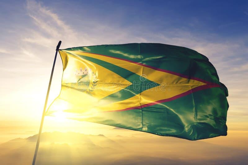 Den brasilianska flaggan som viftar på den översta soldimma arkivfoton