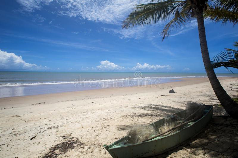 Den brasilianska strandkusten på en solig dag i Barra gör Cahy, Bahia, Brasilien Februari 2017 arkivfoto