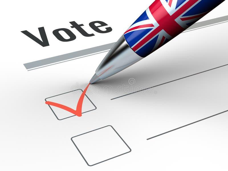 Den Brexit - Pen With Great Britain flaggan och röstar checkboxen stock illustrationer