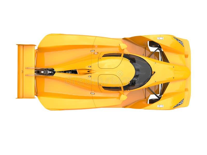 Den brinnande gula moderna toppna sportbilen - överträffa ner sikt royaltyfri illustrationer
