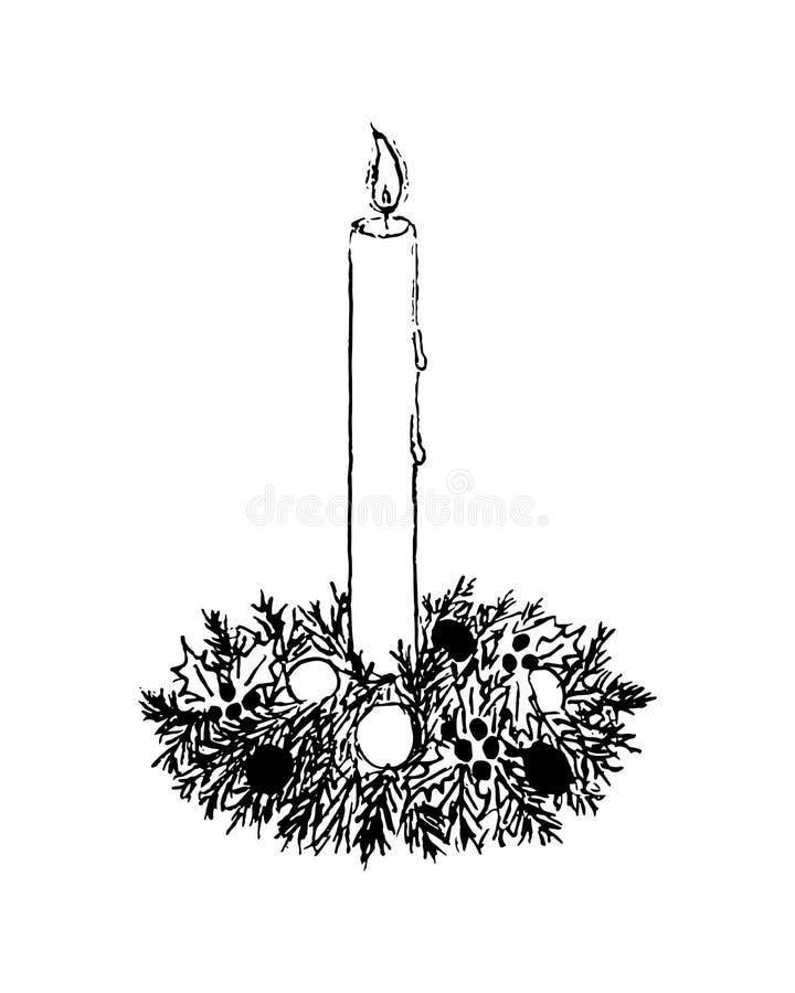 Den brinnande stearinljuset i julljusstake av gran förgrena sig också vektor för coreldrawillustration stock illustrationer