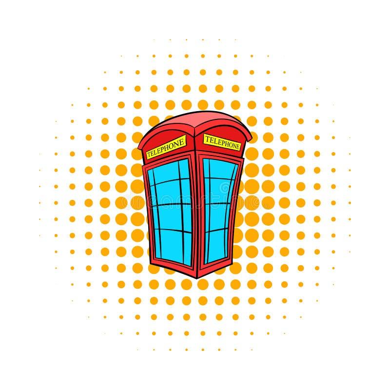 Den brittiska röda symbolen för telefonbåset, komiker utformar vektor illustrationer