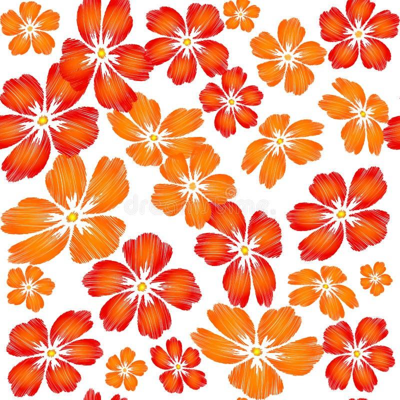 Den broderade röda apelsinen blommar på sömlös vit bakgrund klappar stock illustrationer