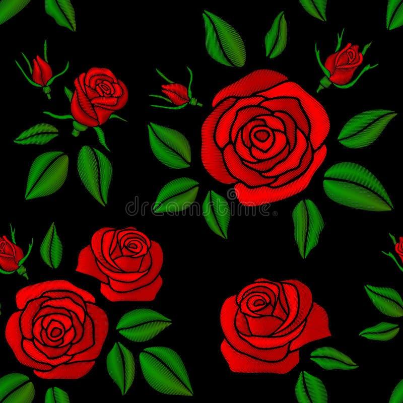 Den broderade röda rosen blommar den sömlösa blom- modellen för vektortappning för modedesign royaltyfri illustrationer