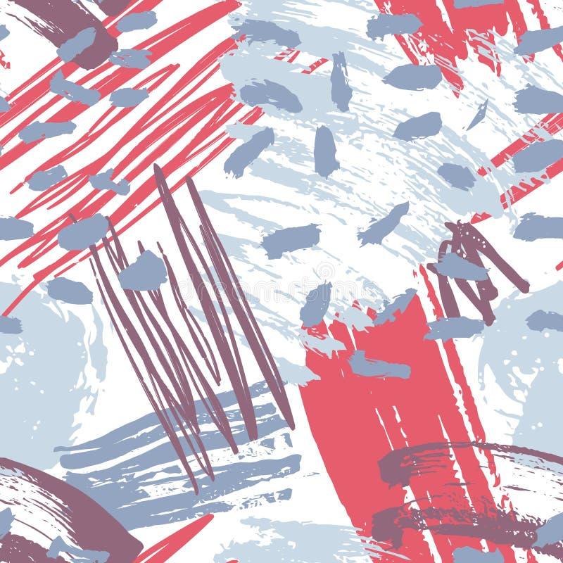 Den brokiga abstrakta konstnärliga sömlösa modellen med idérik kaotisk målarfärg spårar, fläckar, fläckar, kludd på vit bakgrund royaltyfri illustrationer
