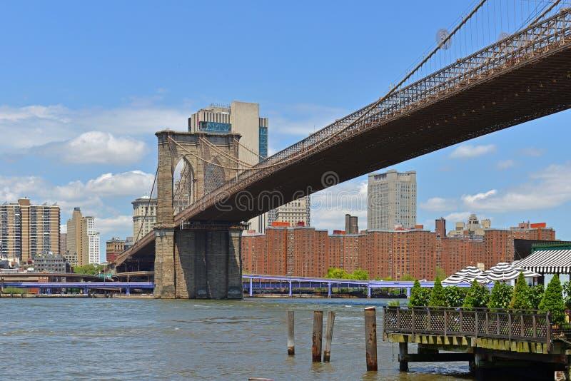 Den Brooklyn bron 1883 som var hybrid- kabel-blev/upphängningbron i New York City Det förbinder städer av Manhattan och Brooklyn, royaltyfria foton