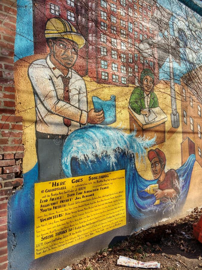 Den Brooklyn väggmålningen, går här något, Brooklyn, NYC, NY, USA arkivbild