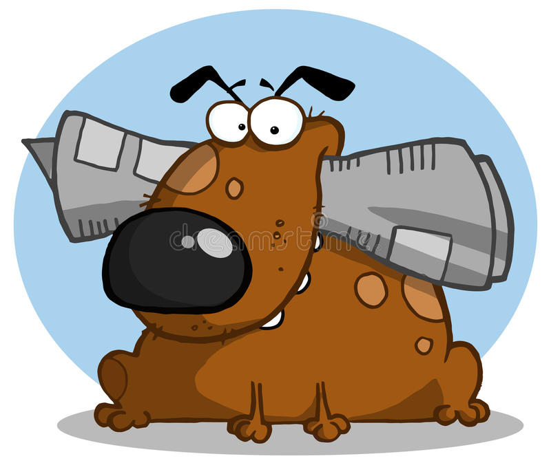 Den Brown hunden rymmer tidningen i mun royaltyfri illustrationer