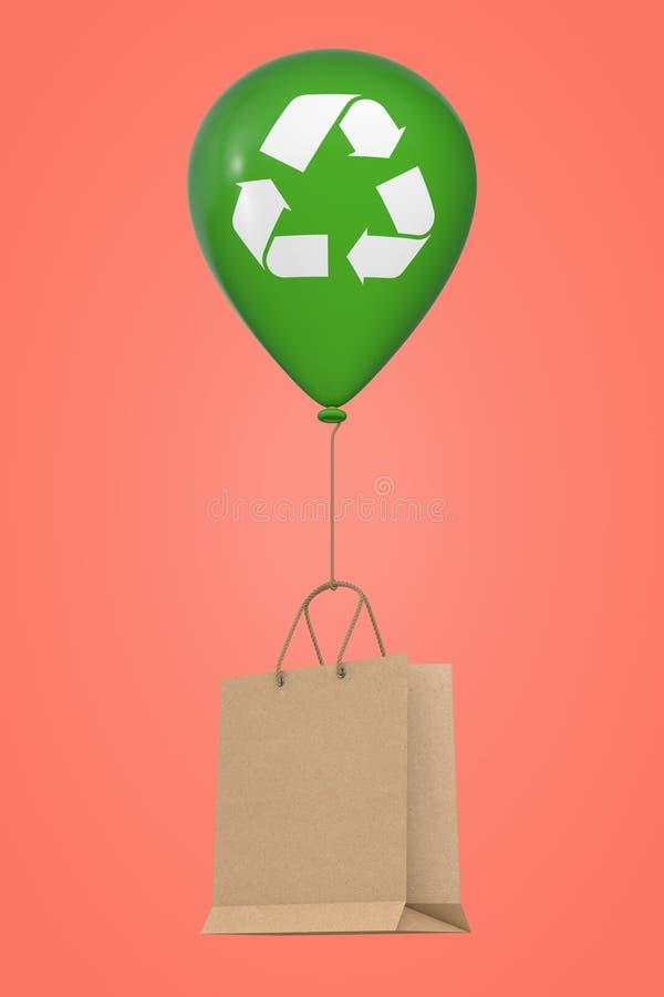 Den bruna återanvända pappers- shoppa påsen som svävar med den gröna Hellium ballongen med, återanvänder tecknet framförande 3d royaltyfri illustrationer