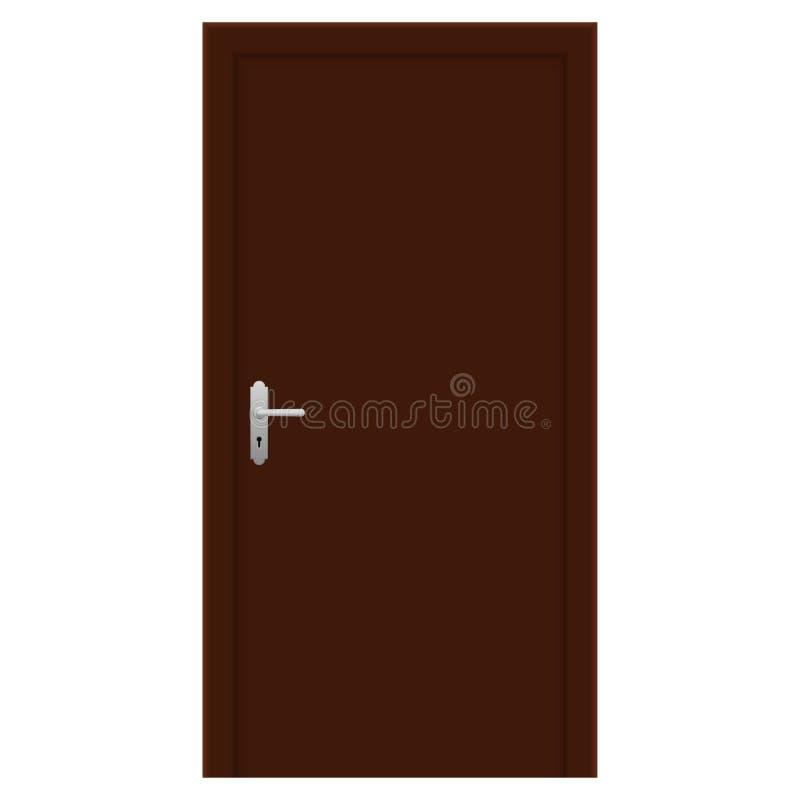Den bruna dörren inre trä för design royaltyfri illustrationer
