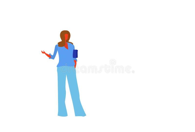 Den bruna handväskan för håraffärskvinnainnehavet som pekar handen något det kvinnliga anseendet för kvinnan för affären för kont vektor illustrationer