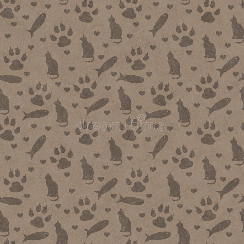 Den bruna katten, tafsar tryck, fisken, och sömlösa hjärtor och repetitionpatt arkivfoto