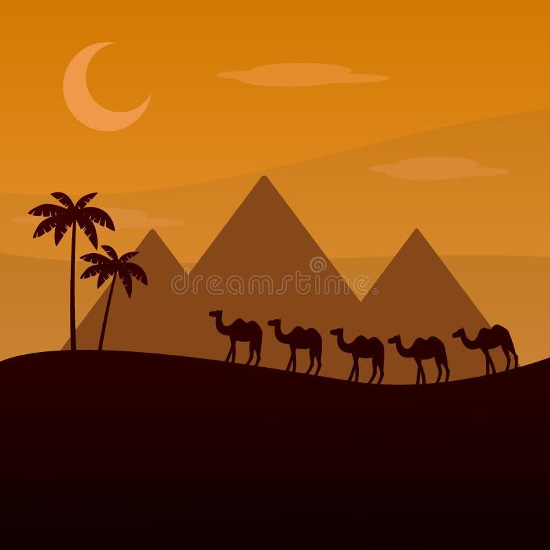 Den bruna konturn av husvagnen i öknen Kamel i sanderna afrikansk liggande Kamelhusvagn som går över ett Egypten De royaltyfri illustrationer