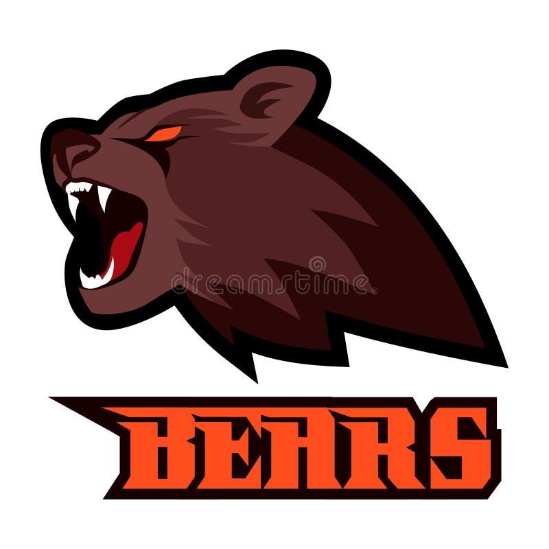 Den bruna starka rasande rytande maskot för björnhuvudsporten isolerade royaltyfri illustrationer