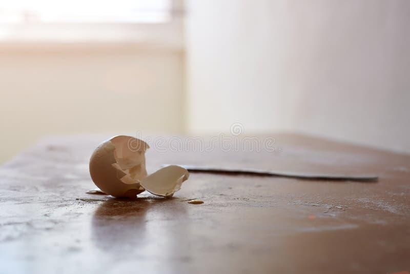 Den brutna äggpeelen med avbrottsblyertspennan och skrynklar papper göra sig en föreställning om bakgrund för tänkande inspiratio royaltyfri foto