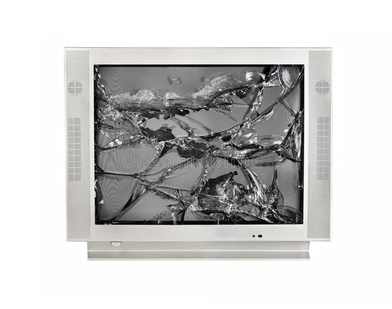 Den brutna bildskärmen av den gamla TV:N som isoleras på en vit bakgrund arkivbilder