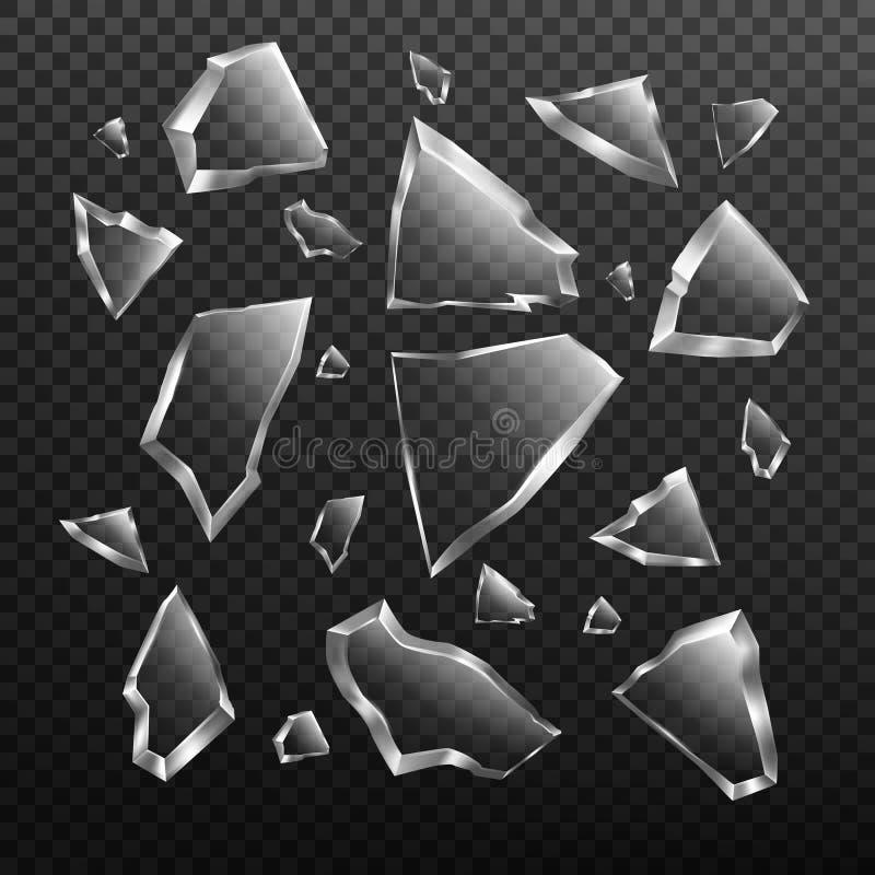 Den brutna exponeringsglasskärvauppsättningen, kraschade fönsterfragment royaltyfri illustrationer