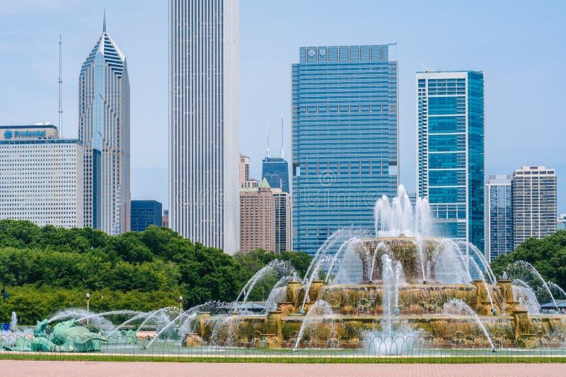 Den Buckingham springbrunnen, i Grant Park, Chicago, Illinois arkivfoton