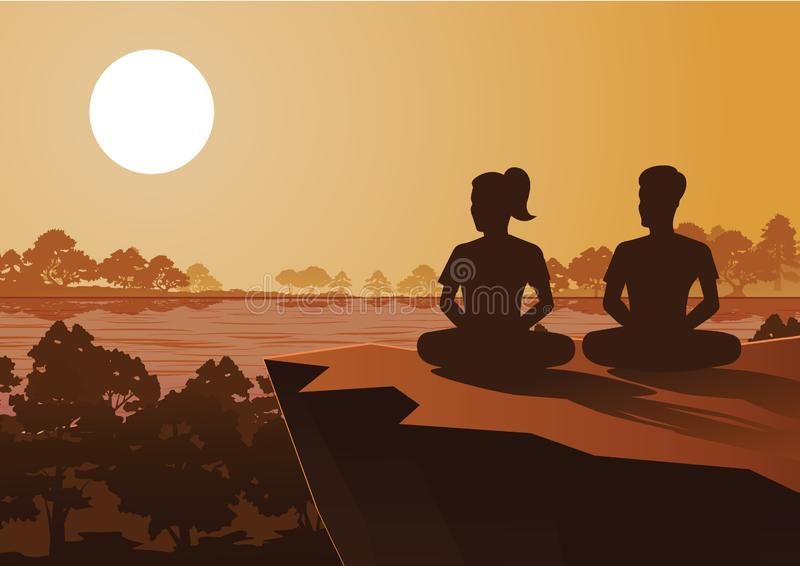 Den buddistiska kvinna- och mandrevmeditationen som kommer till fred och ut ur, lider under trädet stock illustrationer