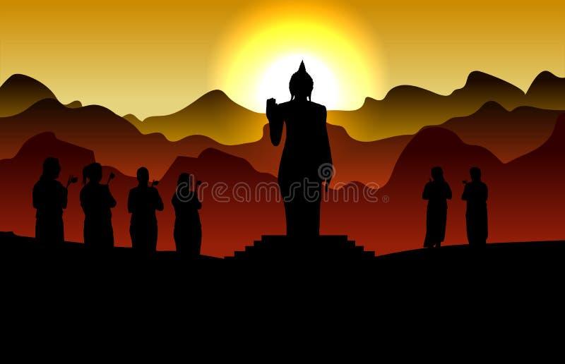 Den buddistiska kvinnan går runt om buddhaen stock illustrationer