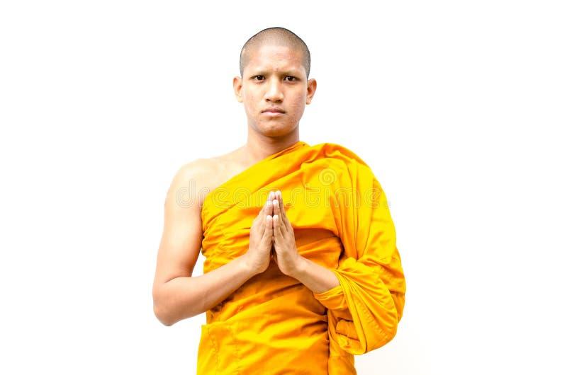 Den buddistiska munken, den buddistiska munken ger en predikan till peop royaltyfria bilder