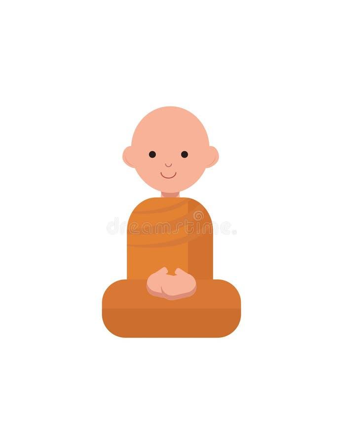 Den buddistiska munken i orange ämbetsdräkter sitter royaltyfri illustrationer